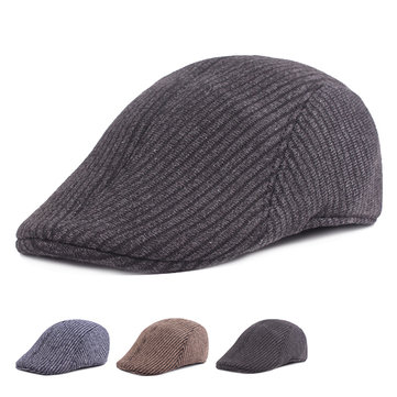 Mens Winter Cotton Thickening Peaked Caps Solid Warm Outdoor Stripe Windproof Warm Beret Hats