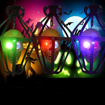 Portable Colorful Flashing LED Glowing Skull Night light Hanging Cage Halloween Party Decor