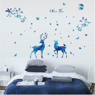 Miico 3D Creative PVC Wall Stickers Home Decor Mural Art Removable Deer Animal Decor Sticker