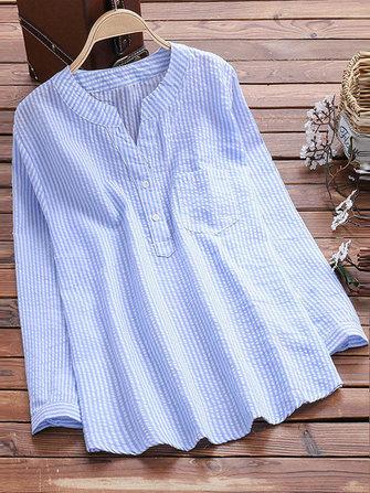 Women Vintage V-neck Long Sleeve Stripe Blouse with Pocket