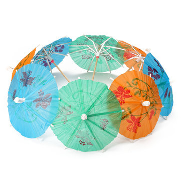 8Pcs Paper Umbrella Colorful Tropical Hawaiian Parasol Snack Cocktail Party Drinks Decoration