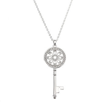 JASSY® Flower Key Pendant Shiny Long Necklace Platinum Plated Rhinestone Sweater Chain Women Jewelry