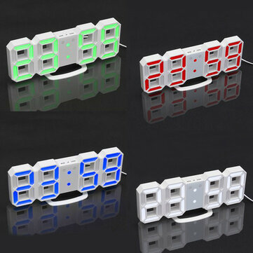24/12 Hour 3D LED Electronic Table Desk Quartz Wall Clock With Alarm Digital Display Plasitc