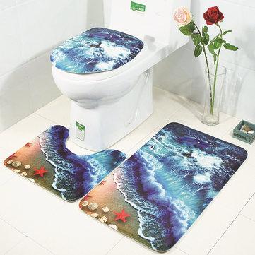 Honana Bathroom Rug Mats Set 3 Piece 3D Waves Printed Flannel Soft Shower Bath Toilet Rugs