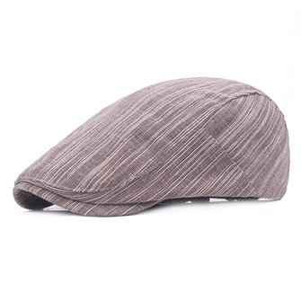 Mens Cotton Stripes Beret Hat Outdoor Casual Breathable Forward Cap Adjustable