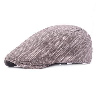 Hommes Coton Stripes Beret Hat Outdoor Casual Souplesse respirante avant Capable réglable