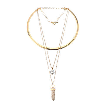 Trendy Six Corners Natural Stone Pendant Gold Alloy High Grade Zircon Separable Necklace for Women