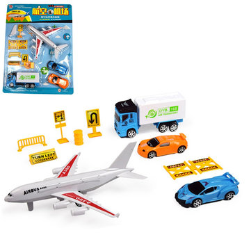 10pcs/Set Airport Playset Airplane Aircraft Models Assembled Children Developmental Toys