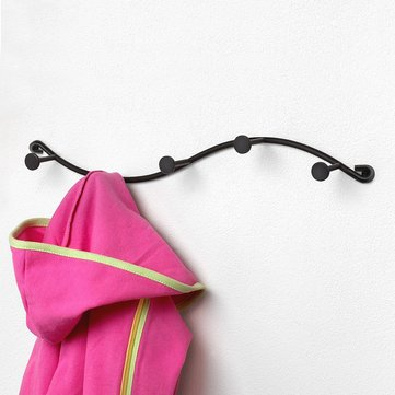 KCASA BR-03 Utility 5 Hooks Single Iron Household Storage Hook Rack Key Coat Towel Wall Hook Rack