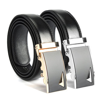 Men Second Floor Cowhide Gold Alloy Adjustable Automatic Buckle Belt Length Randomly