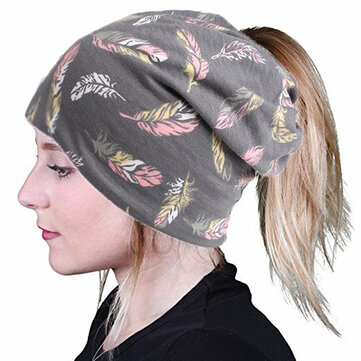 Women Vintage Bohemia Style Turban Hat Multifunctional Good Elastic Ponytail Beanie Caps