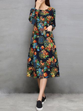 Donne etnici manica lunga floreale tasca stampato il vestito allentato