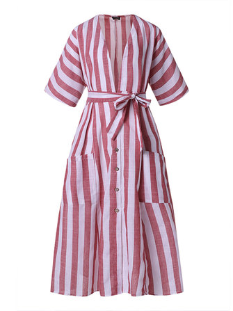 Women Casual Striped Loose Button Dress with Pockets