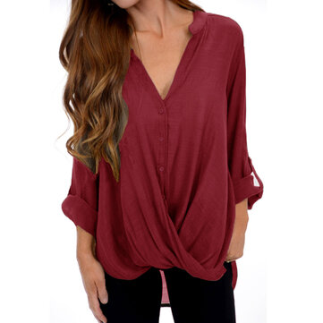 Women Long Sleeve Casual Asymmetrical Loose Blouse