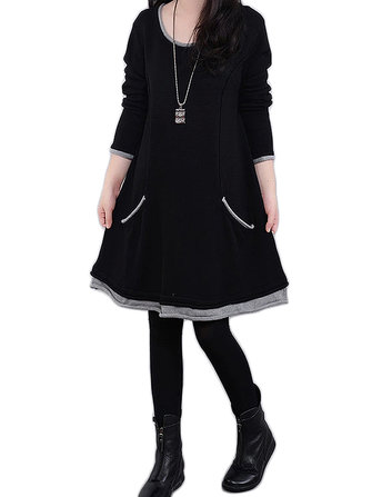 Women Plus Size Long Sleeve Thicken Fleece Mini Dress