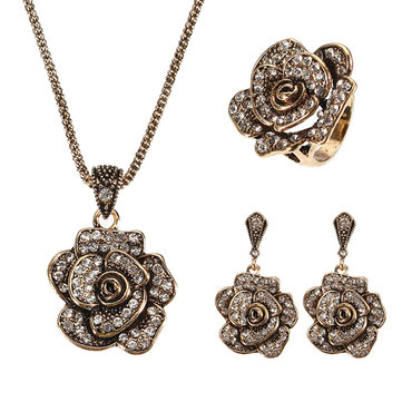 JASSY® Vintage Gold Necklace Rhinestones Ring Retro Flower Earrings Gift Jewelry Set