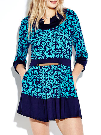 Casual Blue Floral Half Sleeve Skater Dress
