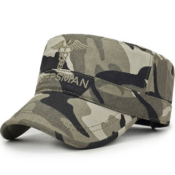 Washed Cotton Camouflage Dad Hat Letters Embroidered Flat Hats Military Style Visor Cap