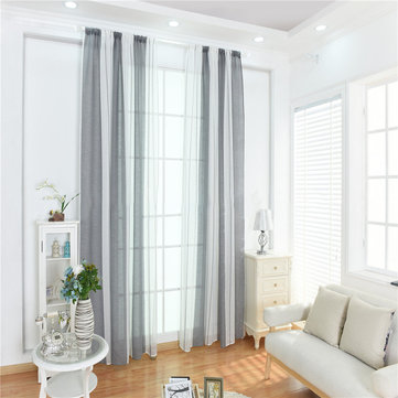 Honana 100x200cm Cotton Linen Stripe Curtains Tulle Romantic Wedding Decor Curtain For Living Room Bedroom