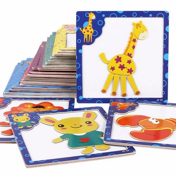 Kids Wooden Magnetic Puzzle Blocks Drawing Writing Board Children Toy