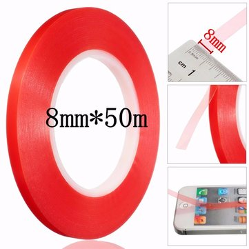8mm Transpar Tape Strong Acrylic Adhesive PET Transparent Double Sided Red Film No Trace for Phone LCD Screen