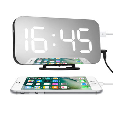New Creative Mobile Phone Charging Mirror Electronic Snooze Alarm Clock LED Display Clock