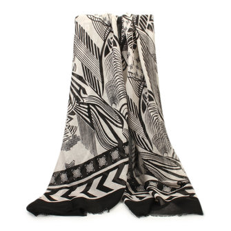 Women Ladies Voile Tassel Black Geometric Pattern Scarves Soft Long Shawl