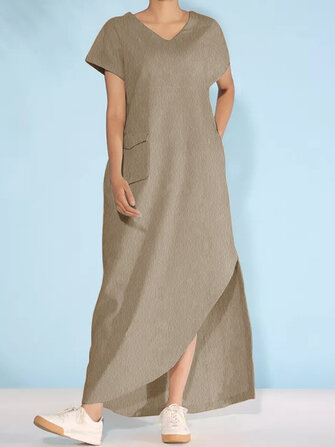 Asymmetric V Neck Casual Short Sleeve Maxi Dress