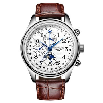 GUANQIN GQ20022 Moon Phase Calendar Auto Mechanical Watch