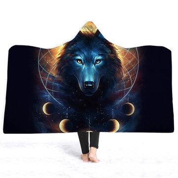 3D волк одеяла с капюшоном короткий плюшевый плащ Soft теплые простыни обложки