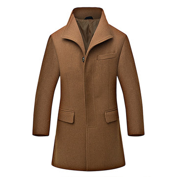 Mens Winter Woolen Warm Overcoat Turndown Collar Trench Coat Slim Fit Long Outerwear
