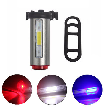 Aluminum COB USB Rechargeable Bicycle Light Taillight LED Warning Safety Bicycle Cycling Light