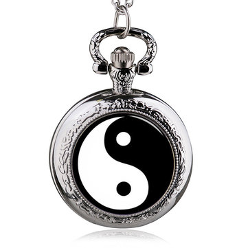 DEFFRUN Fashion Gossip Pattern Quartz Pocket Watch Pendant Necklace