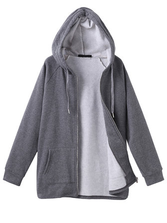 Casual Women Fleece Pure Color Hooded Sweatshirt Coats