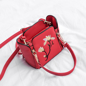 Women PU Leather Floral Pattern Bucket Bag Handbag Shoulder Bag