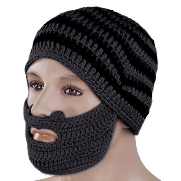 Handmade Winter Cap Hat Woolen Knitted Crochet Mustache Beard Warm Mask Ski