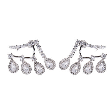 Luxury 925 Sterling Silver Earrings Water Drop Zircon