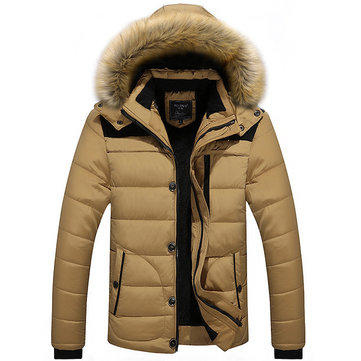 Mens Thick Winter Hooded Big Size Stand Collar Jacket