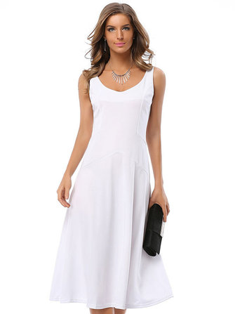 Women Casual V-Neck Patchwork Pure Color Sleeveless Dresses