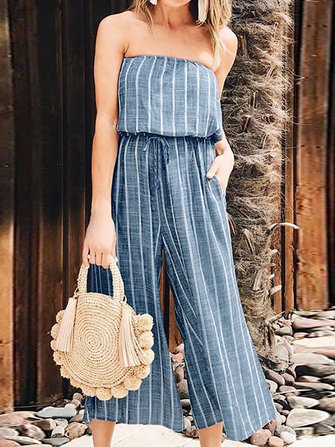 Women Off Shoulder Elastic Waist Stripe Overalls Jumpsuit