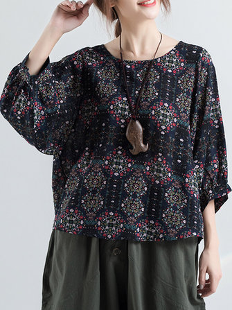 Women Vintage Ethnic Printed o-neck Puff Sleeve Blouse