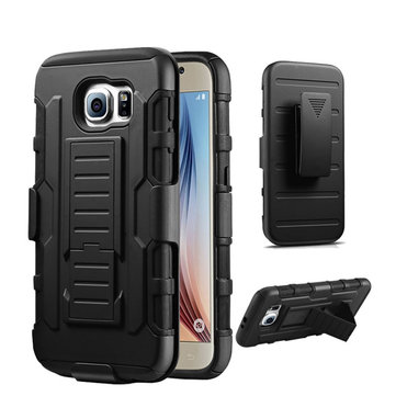 Bakeey™ 3 in 1 Armor Belt Clip kickstand Holder Soft TPU+Hard PC Case for Samsung Galaxy S6