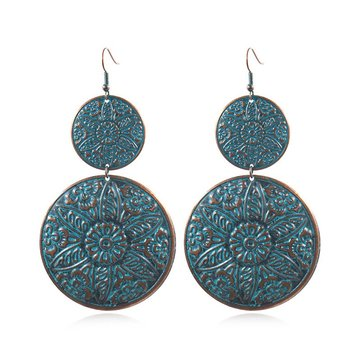 Retro Sculpture Double Round Drop Earring Noble Women Earrings