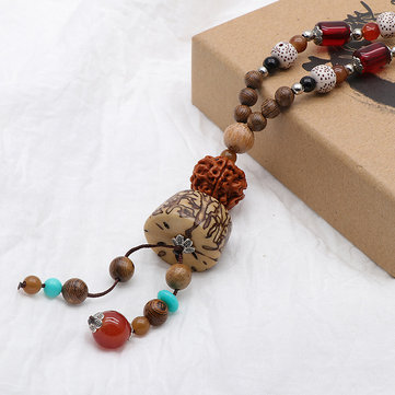 Unisex Ethnic Tibetan Beaded Necklace Wood Geometric Colorful Buddha Beaded Charm Long Necklaces