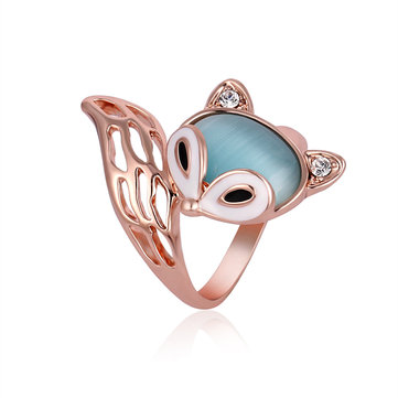 Cute Fox Opal Finger Ring Enamel Zircon Stylish Fashion Jewelry for Women