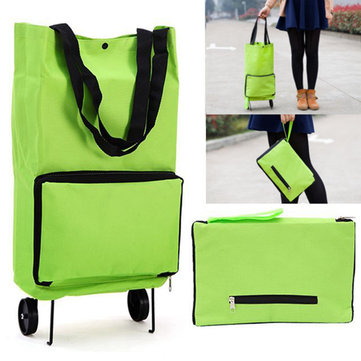 Verde Protable Shopping Trolley Tote Bolsa Carro plegable Rolling supermercado Wheels Kitchen Sostenerer