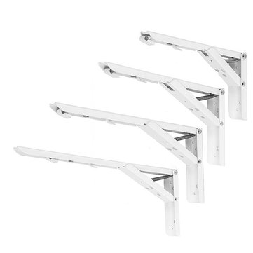 2pcs 8/10/12/14 Inch Folding Triangle Bracket Heavy Duty Steel L-Shaped Storage Wall Shelf Bracket