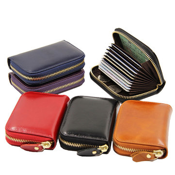 Women Men Wax Oil Leather Zip Around Wallet
