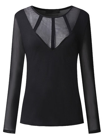 Sexy Vrouwen Met Stitching Long Sleeve Stretch Zwart Slimme Blouses Thin