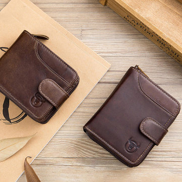 Bullcaptain Men Cowhide Wallet 19 Card Card Holder Coin Bag